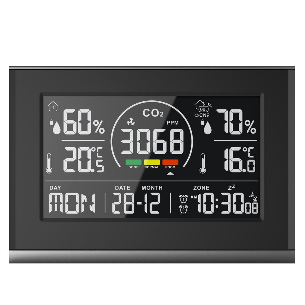 室内外温湿度计可检测二氧化碳