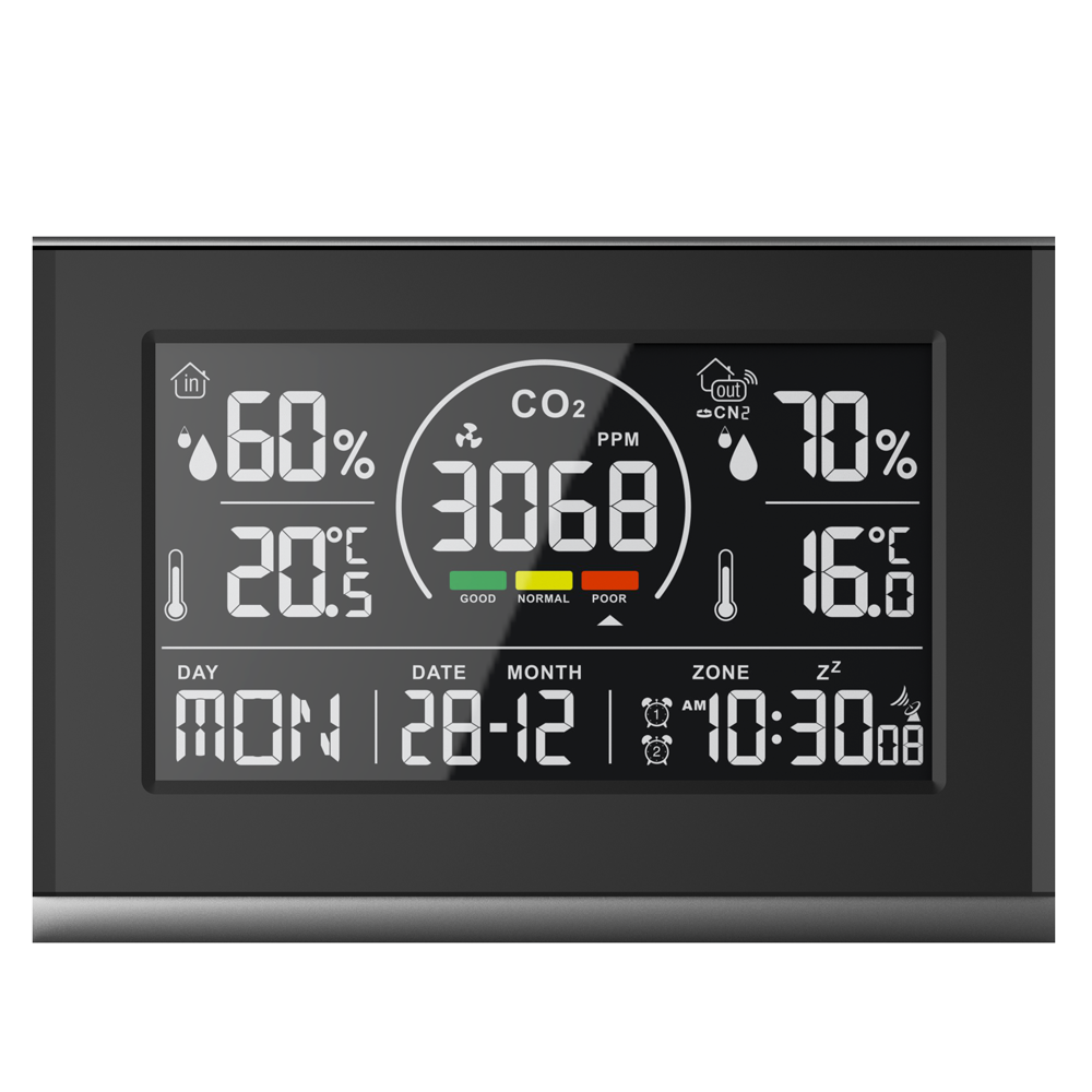Indoor & Outdoor thermo-hygrometer with CO2 meter